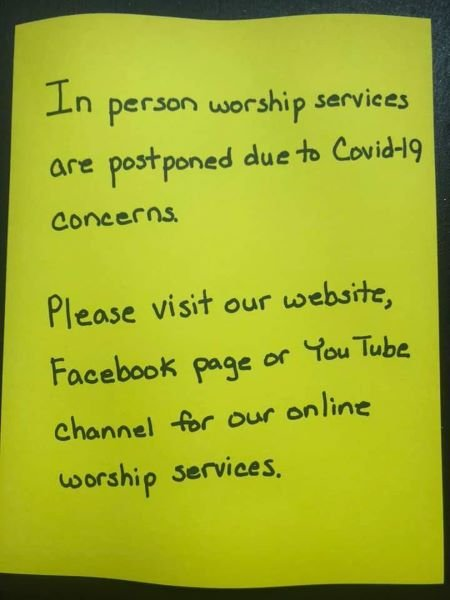 Church wide announcement regarding worship services for Bethel UMC.