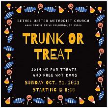 Trunk or Treat at Bethel Methodist Columbia.